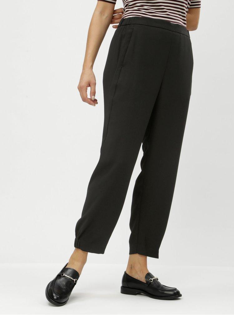 Pantaloni negri pana la glezne cu banda elastica pe glezne si talie inalta DKNY Jogger