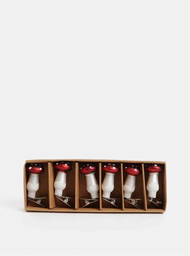 Sada šesti vánočních ozdob ve tvaru muchomůrky Sass & Belle Ruby Toadstool