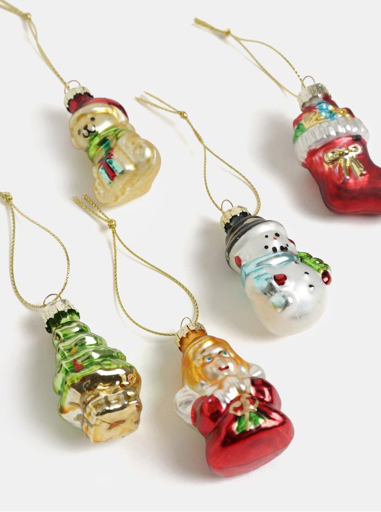 Sada šesti vánočních ozdob v červené, zlaté a zelené barvě Sass & Belle Glitzy Mini Christmas
