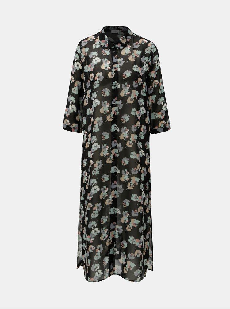 Černé květované košilové šaty Jacqueline de Yong Hanna