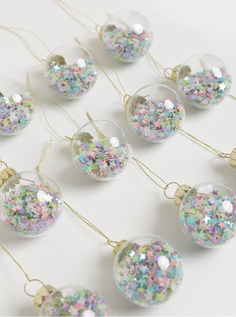 Set de 12 decoratiuni de Craciun roz-albastru cu stele Sass & Belle Pastel Stars Mini Baubles