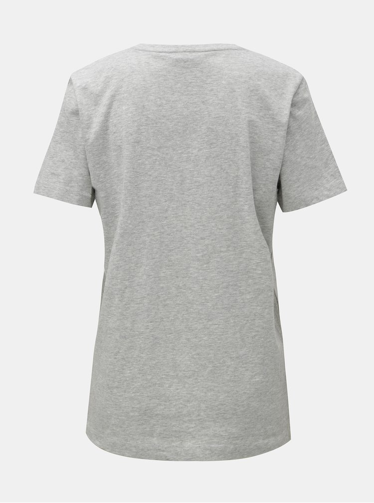 Tricou gri melanj cu logo plastic DKNY Crew Neck