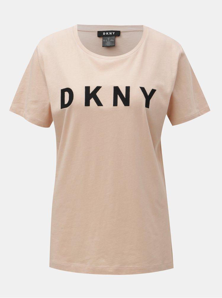 Starorůžové tričko s nášivkou loga DKNY Foundation