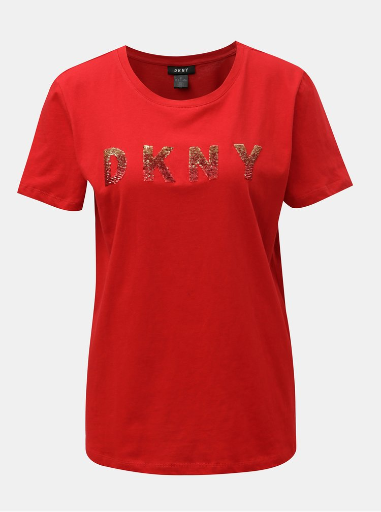 Tricou rosu cu logo din paiete DKNY Sequin