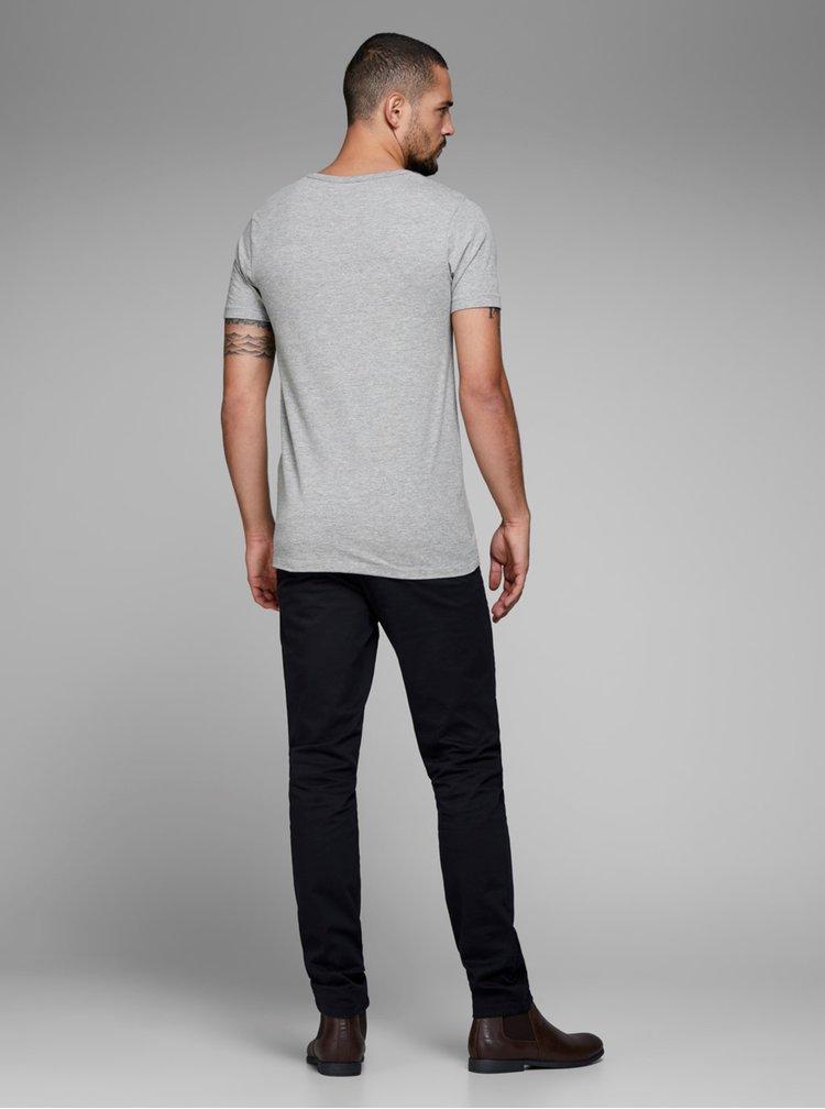 Šedé žíhané tričko s véčkovým výstřihem Jack & Jones Basic