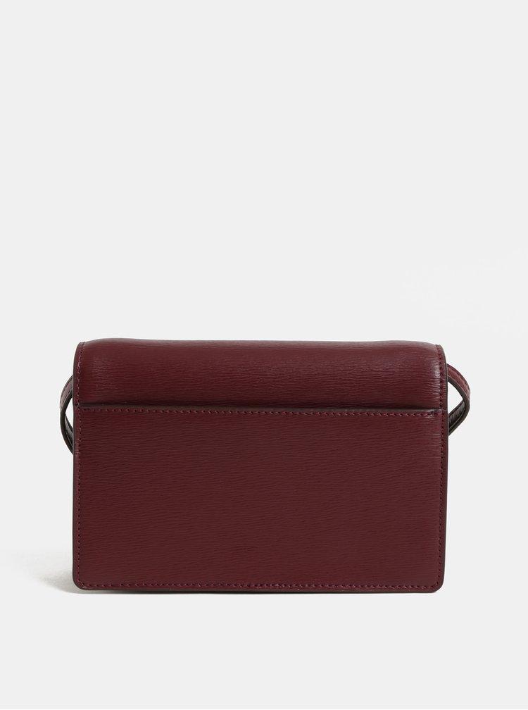 Vínová kožená malá crossbody kabelka DKNY Bryant