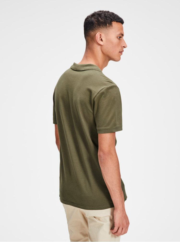 Khaki polo tričko Jack & Jones