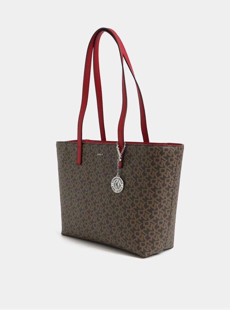 Červeno-hnědá kabelka s logem DKNY Bryant