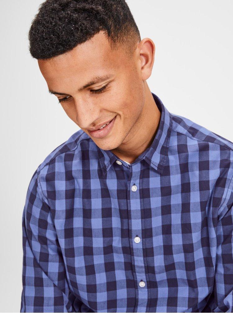 Modrá kostkovaná košile s dlouhým rukávem Jack & Jones Gingham