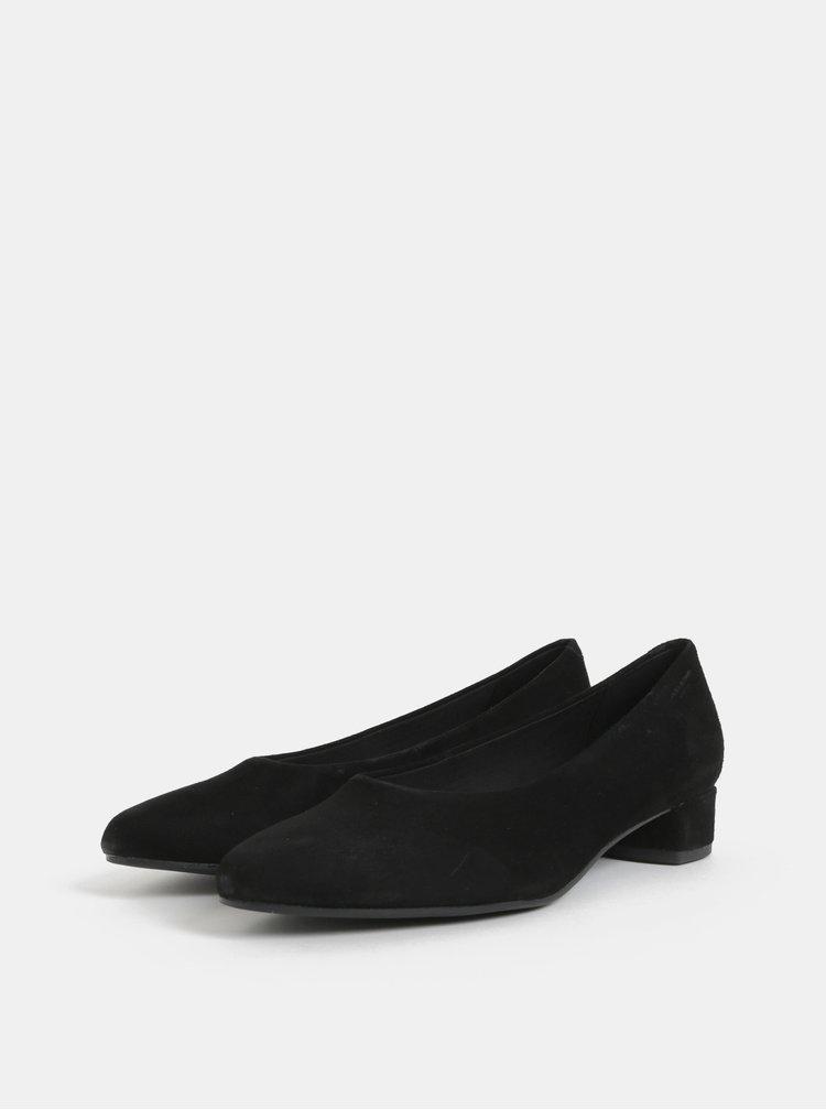 Černé semišové lodičky na nízkém podpatku Vagabond Alicia