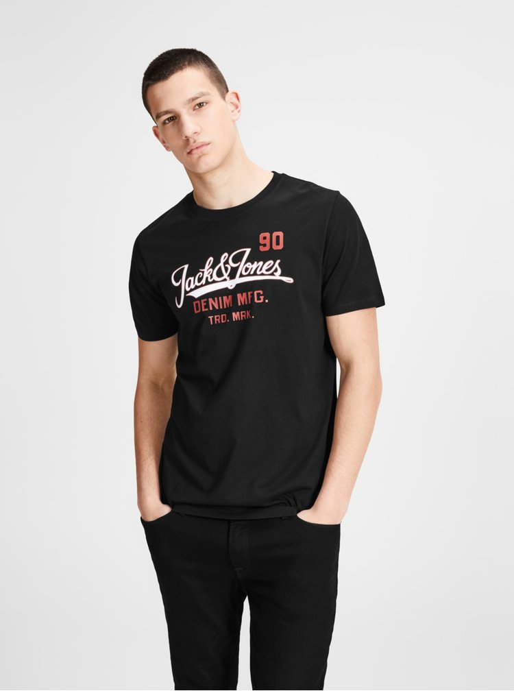 Černé tričko s potiskem Jack & Jones Logo Tee