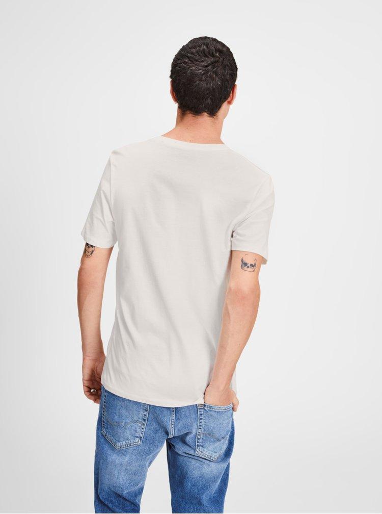 Tricou alb cu print Jack & Jones Logo Tee