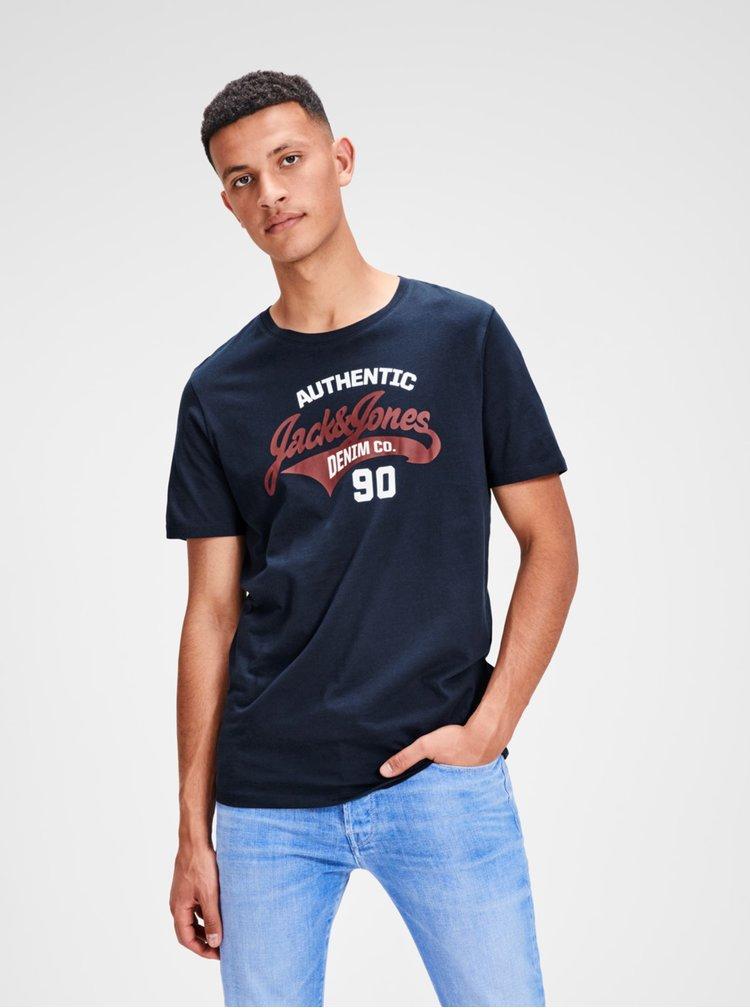 Tricou albastru inchis cu print Jack & Jones Logo Tee