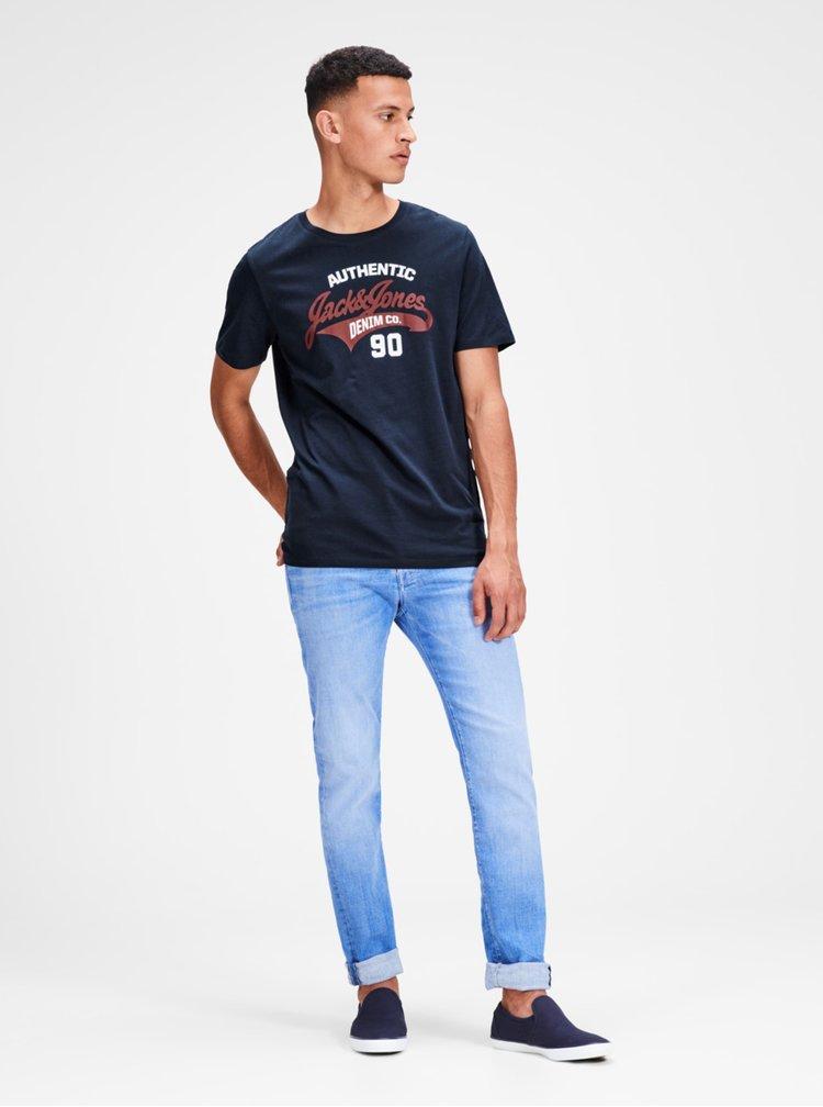 Tmavě modré tričko s potiskem Jack & Jones Logo Tee