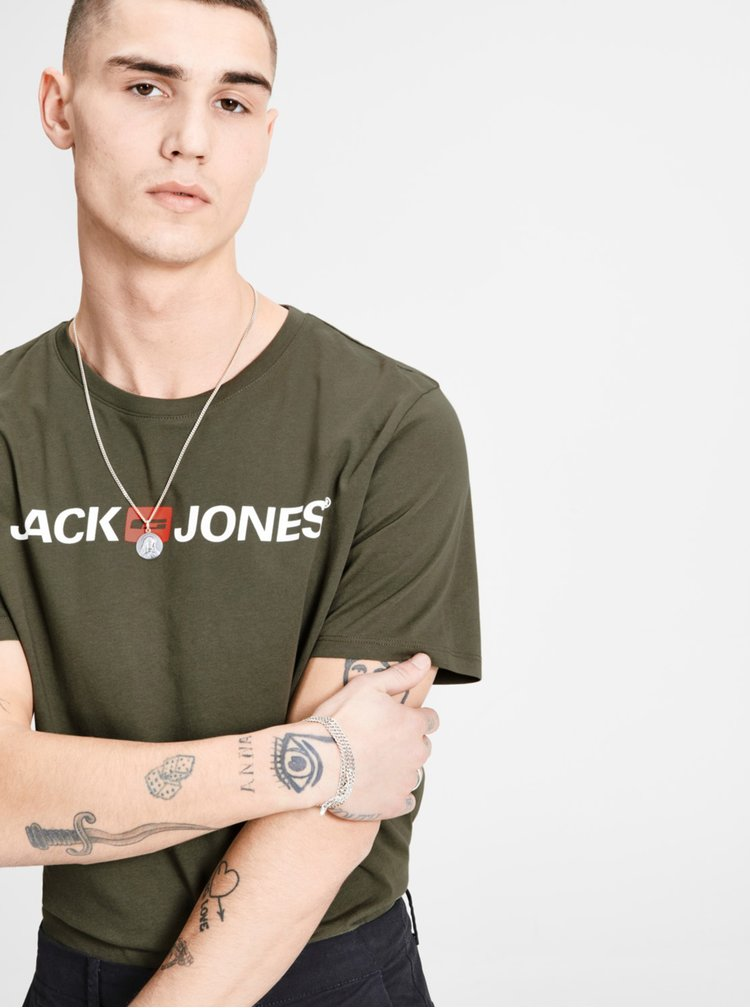 Tricou kaki cu print Jack & Jones