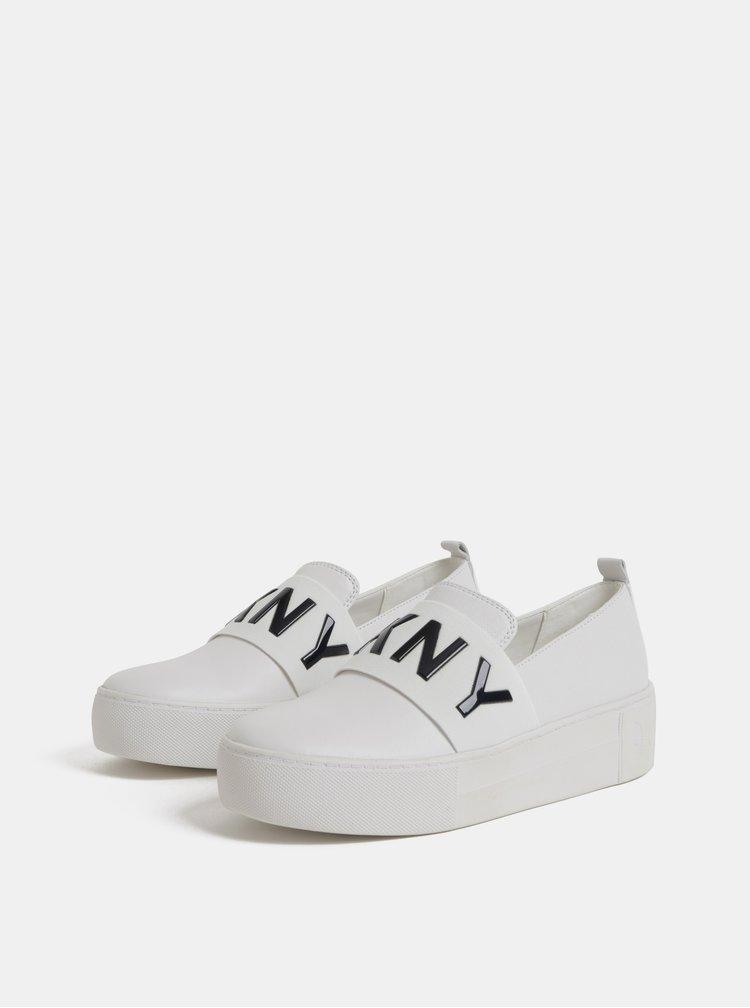 Bílé kožené slip on na platformě DKNY Alicia