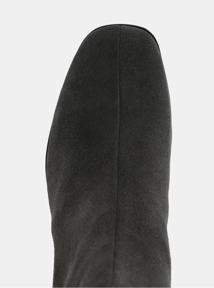 Tmavě šedé dámské semišové kotníkové boty na nízkém podpatku Vagabond Daisy