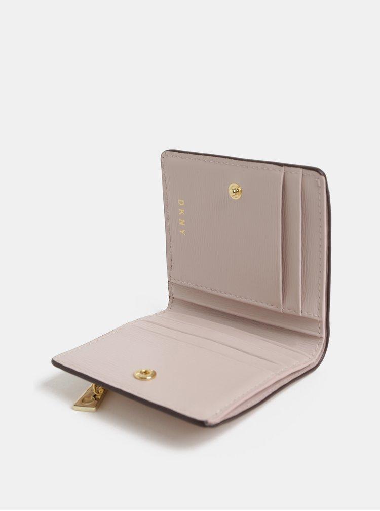 Portofel roz deschis mic din piele DKNY Bryant