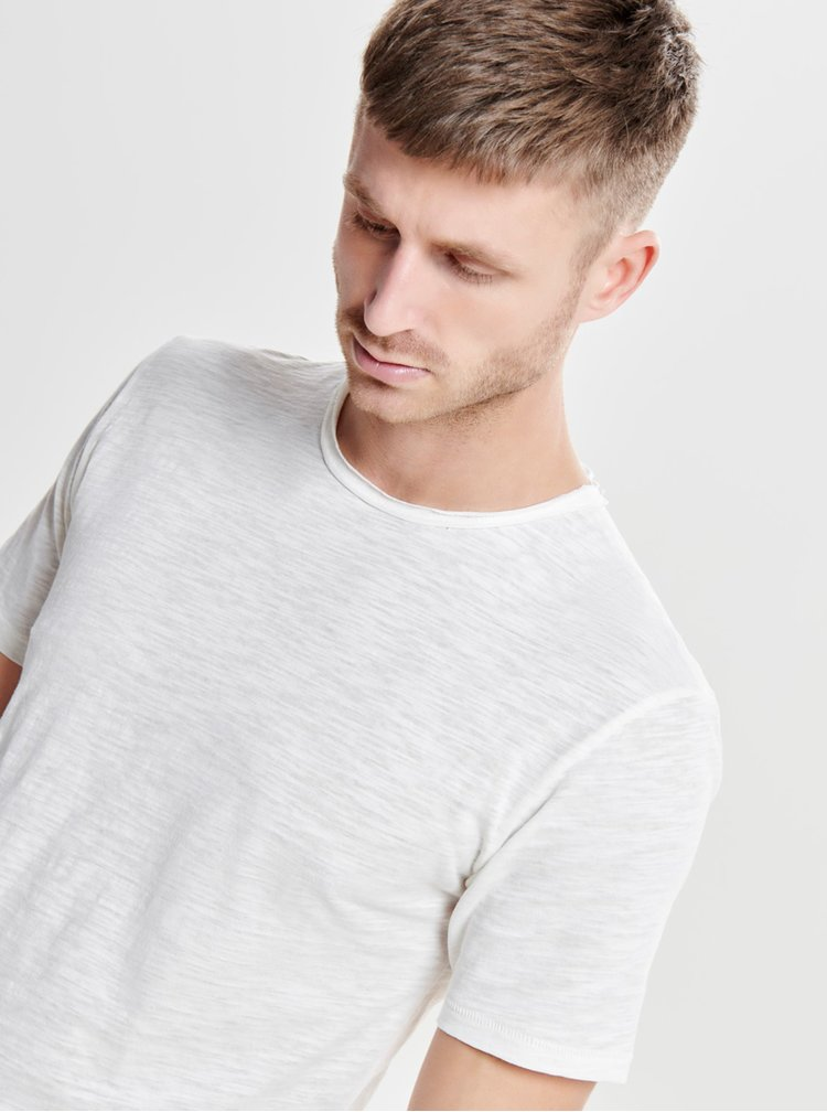 Tricou basic alb prafuit din bumbac - ONLY & SONS Albert