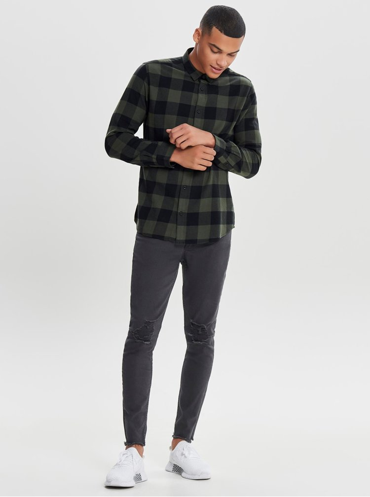Černo-zelená kostkovaná slim košile s dlouhým rukávem ONLY & SONS Gudmund