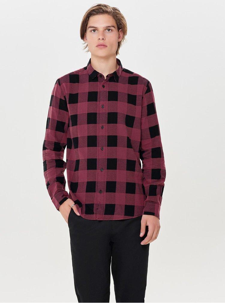 Černo-vínová kostkovaná slim košile s dlouhým rukávem ONLY & SONS Gudmund