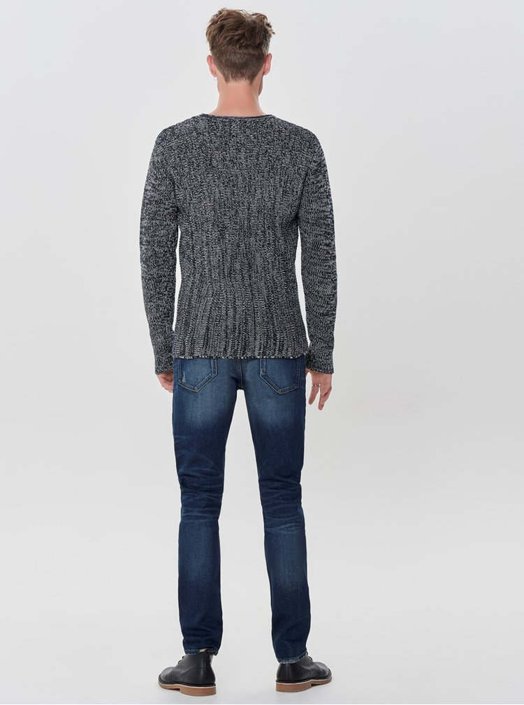 Tmavě modrý žíhaný svetr s kulatým výstřihem ONLY & SONS Sato
