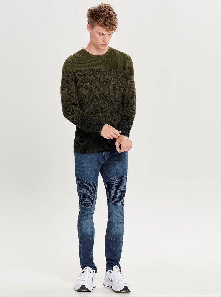 Kaki melírovaný sveter ONLY & SONS Sato