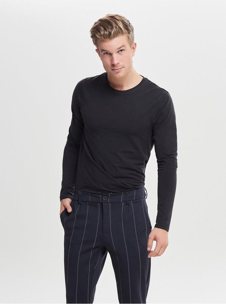 Černé basic tričko s dlouhým rukávem ONLY & SONS