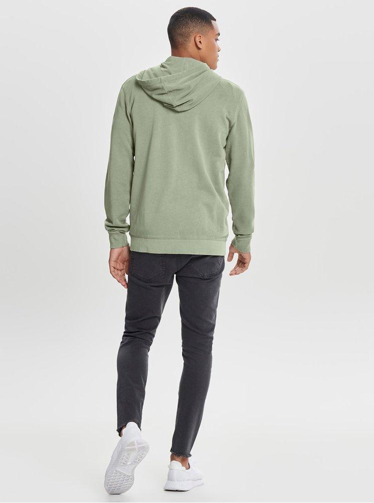 Světle zelená basic mikina na zip ONLY & SONS Jayce