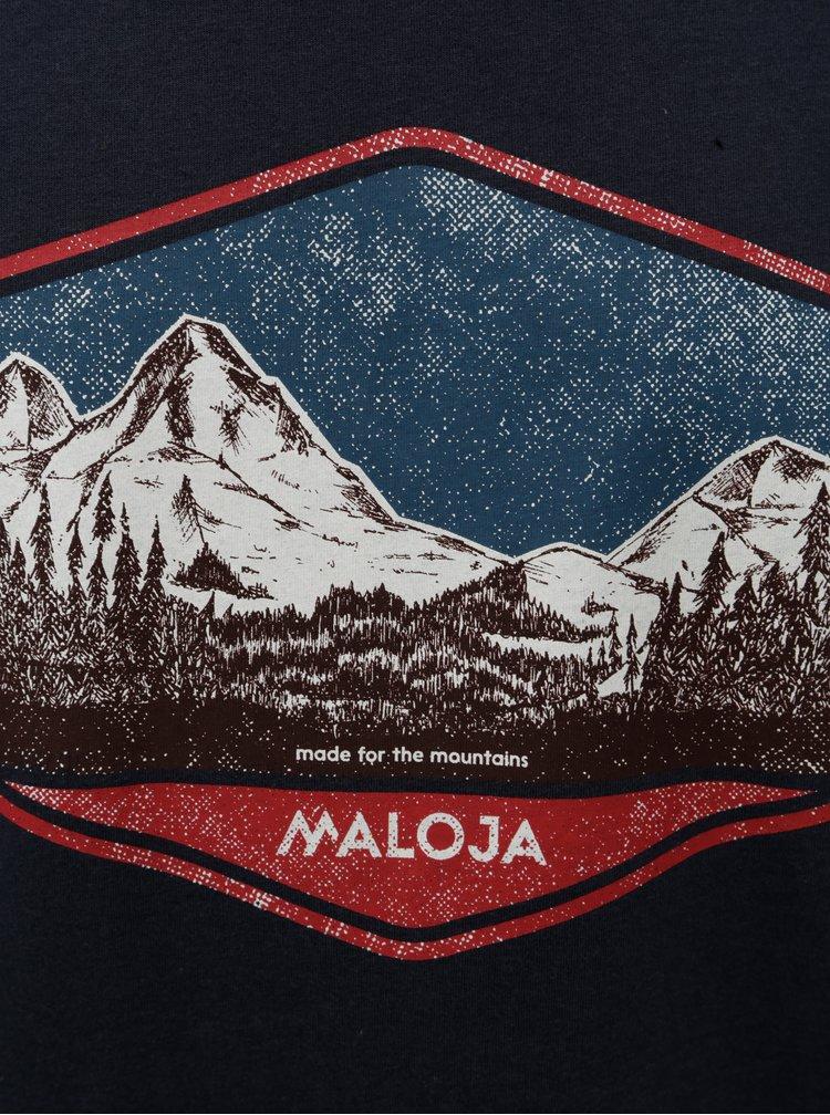 Tricou barbatesc albastru inchis cu imprimeu Maloja Beverin