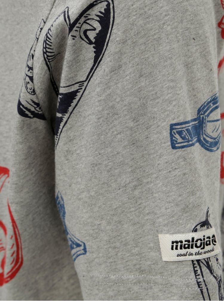 Šedé pánské žíhané tričko s potiskem Maloja Seglias