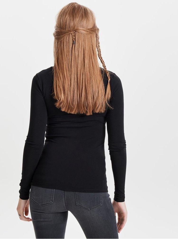 Černé basic tričko s dlouhým rukávem ONLY Live