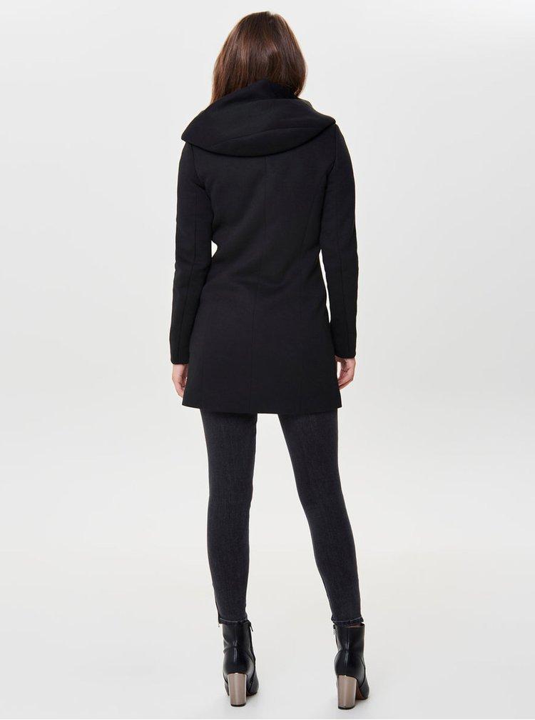 Černý kabát s kapucí ONLY Sedona