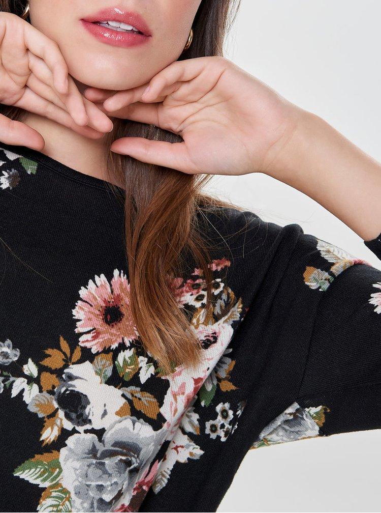Černé vzorované volné tričko s 3/4 rukávem ONLY Elcos