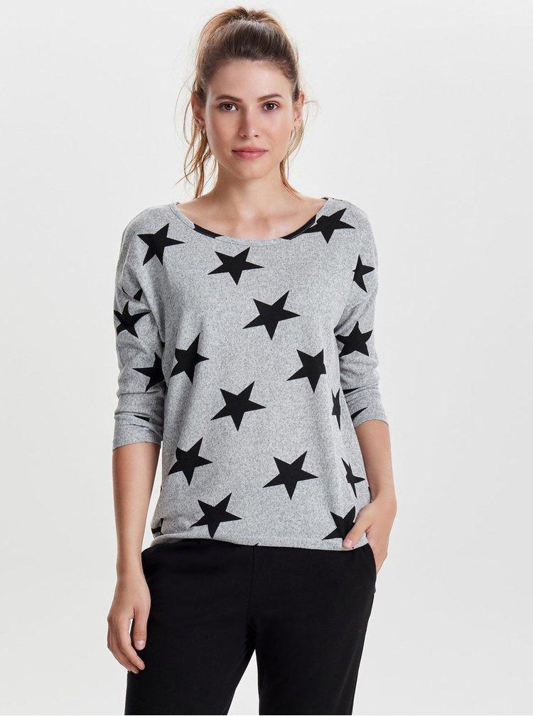 Sivé vzorované voľné tričko s 3/4 rukávom ONLY Elcos