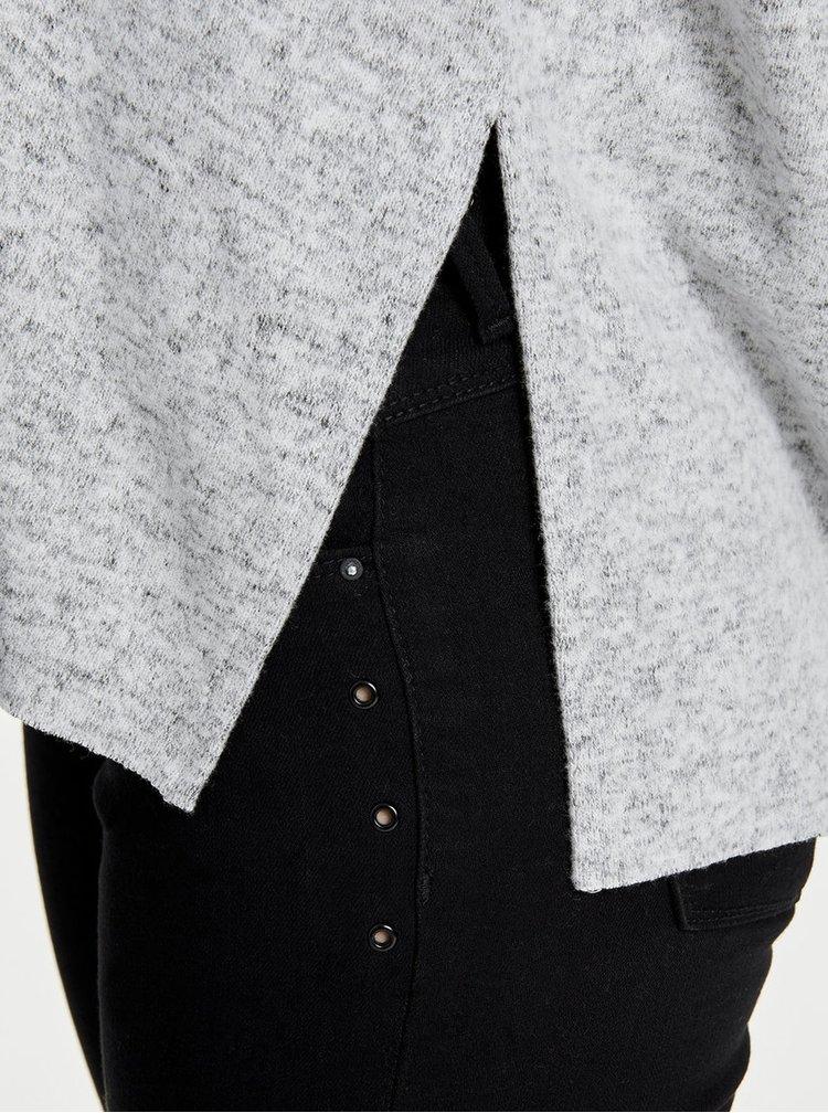 Světle šedý žíhaný svetr s rozparky ONLY Kleo