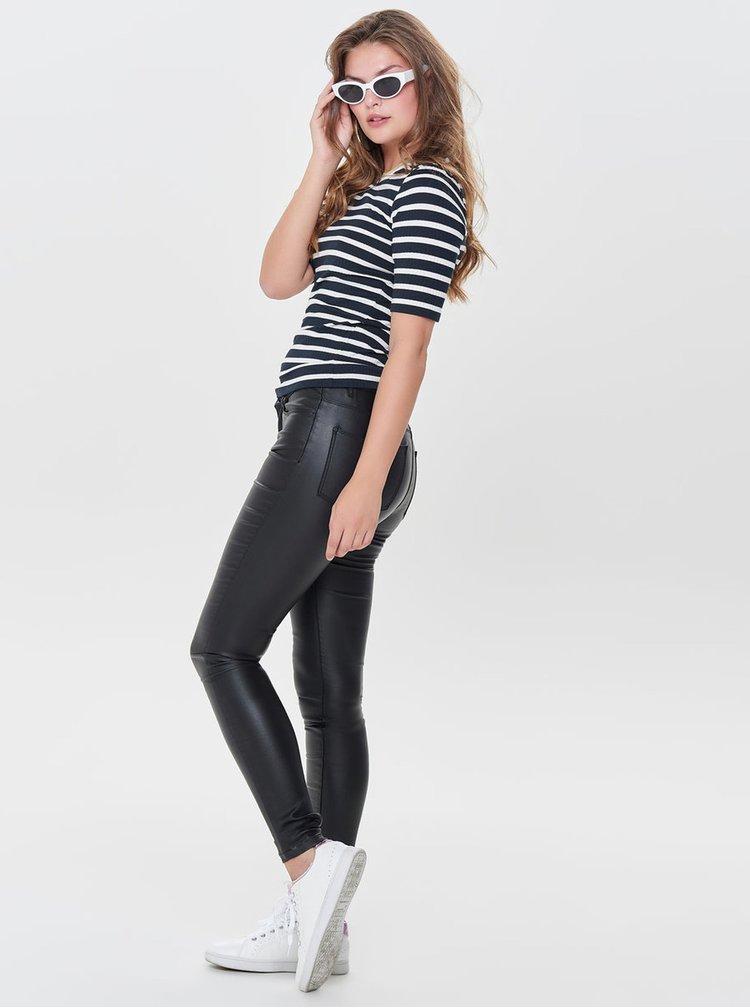 Černé koženkové skinny kalhoty s nízkým pasem ONLY