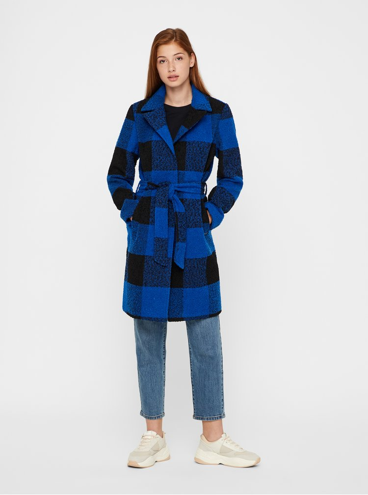 Černo-modrý kostkovaný kabát Noisy May