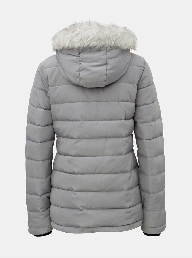 Jacheta gri matlasata de iarna cu blana artificiala Dorothy Perkins