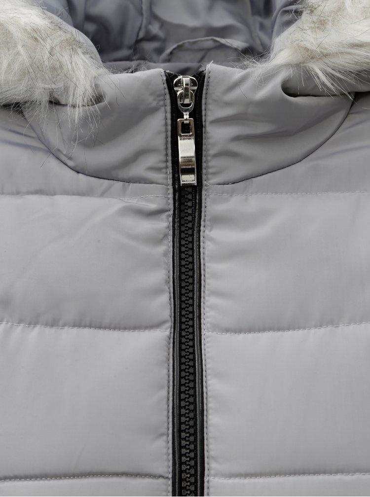 Šedá zimní prošívaná bunda s umělým kožíškem Dorothy Perkins