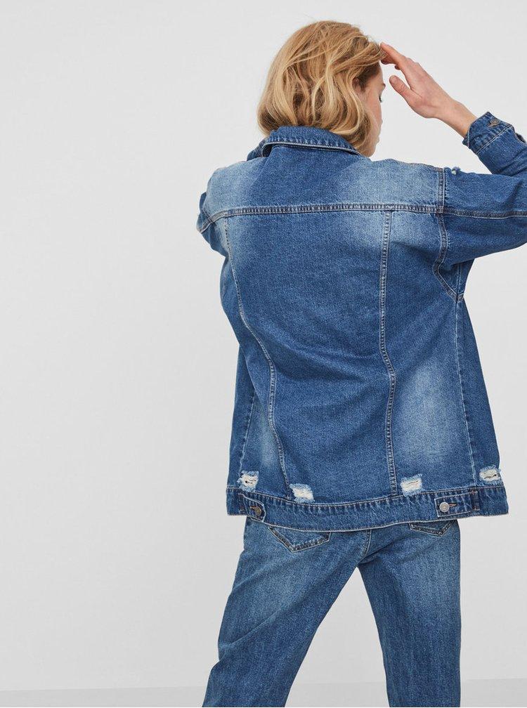 Jacheta albastra lunga din denim cu aspect uzat - Noisy May Angie