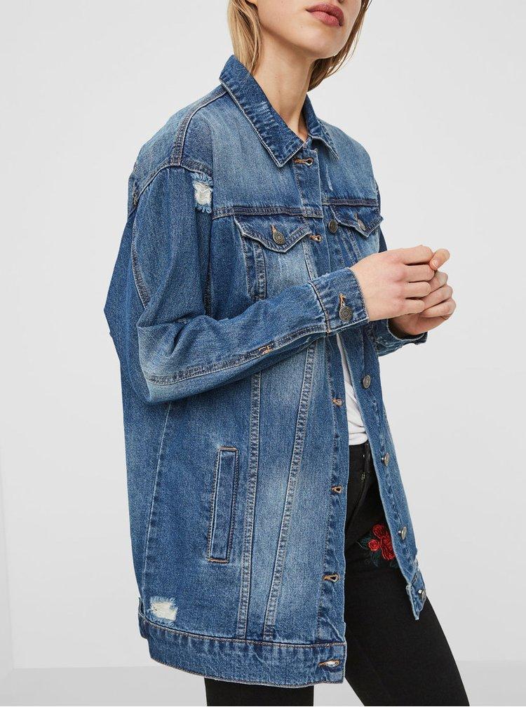 Modrá dlouhá džínová bunda s potrhaným efektem Noisy May Angie