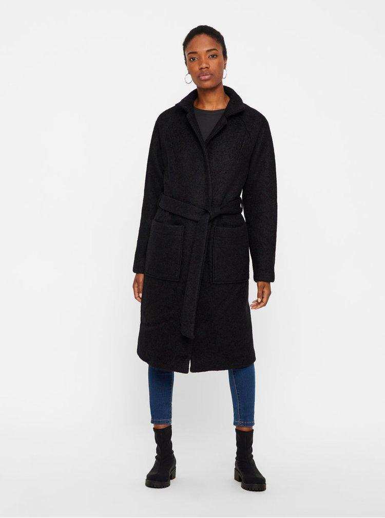 Černý vlněný kabát s kapsami a páskem Noisy May Zoe