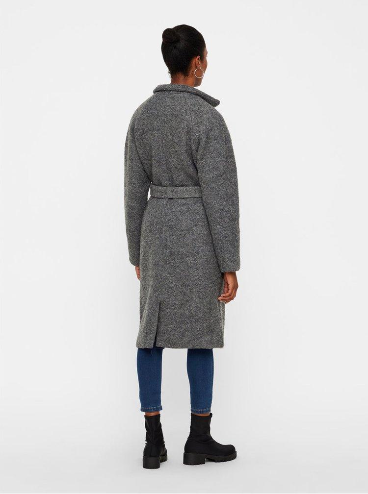 Šedý vlněný kabát s kapsami a páskem Noisy May Zoe