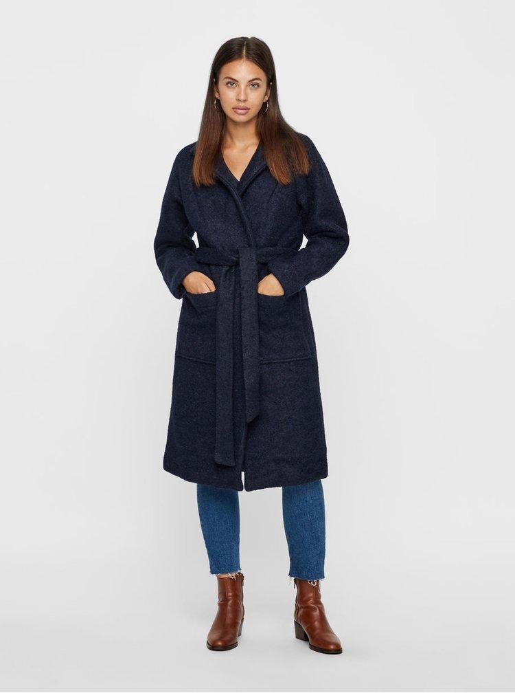 Modrý vlněný kabát s páskem Noisy May Zoe