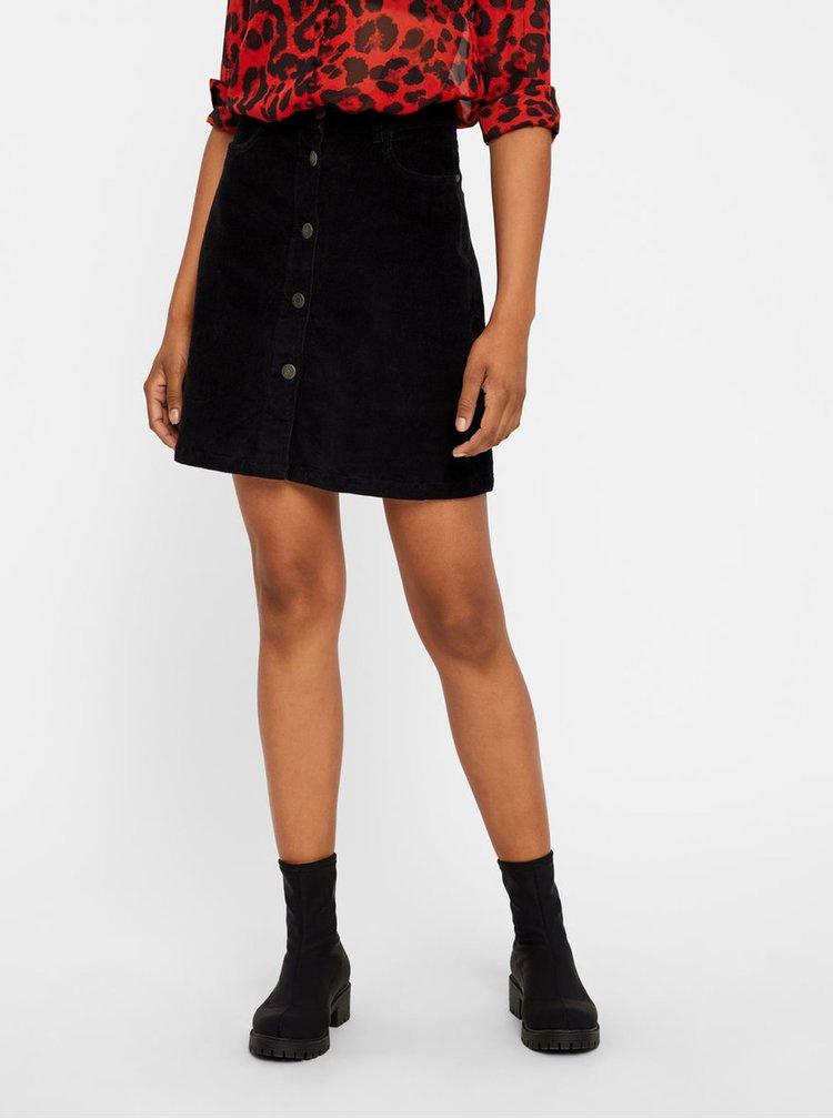 Čierna menčestrová sukňa Noisy May Sunny
