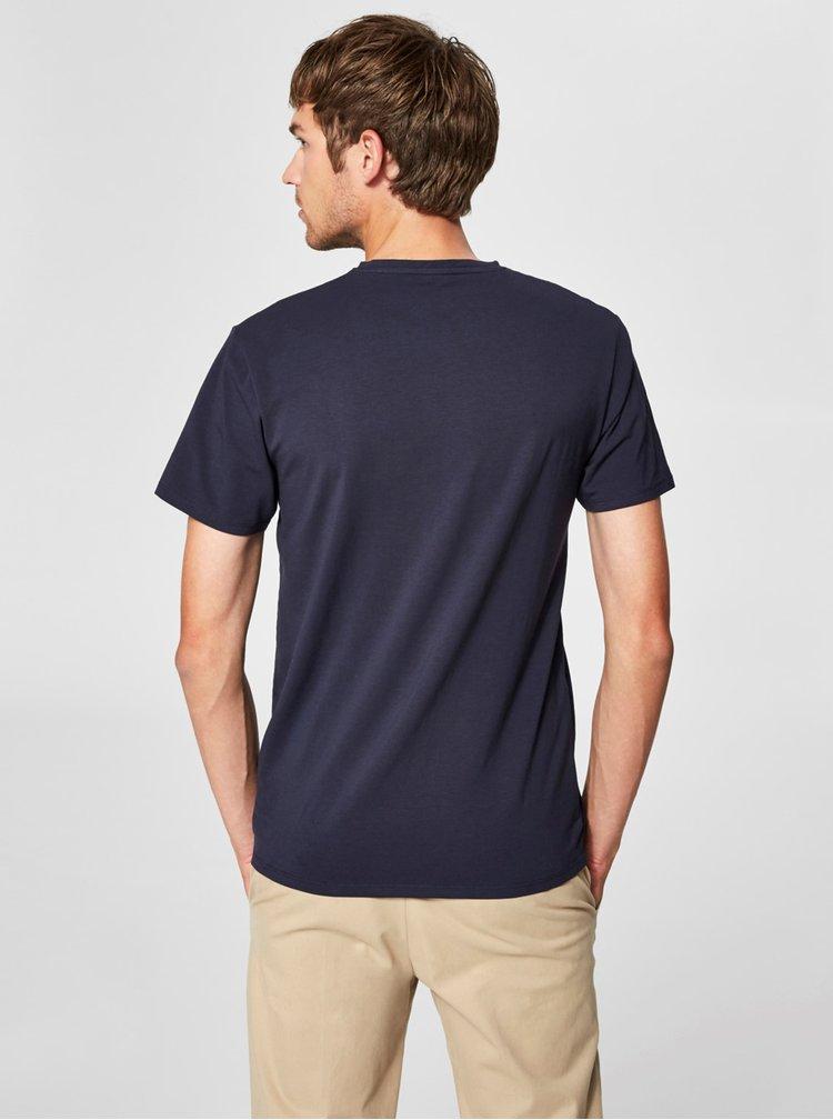 Tmavě modré tričko s véčkovým výstřihem Selected Homme Pima