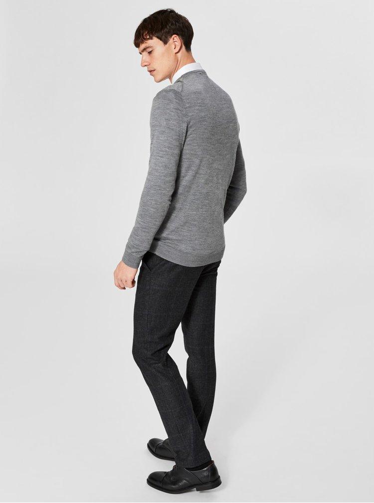Šedý vlněný lehký svetr s véčkovým výstřihem Selected Homme