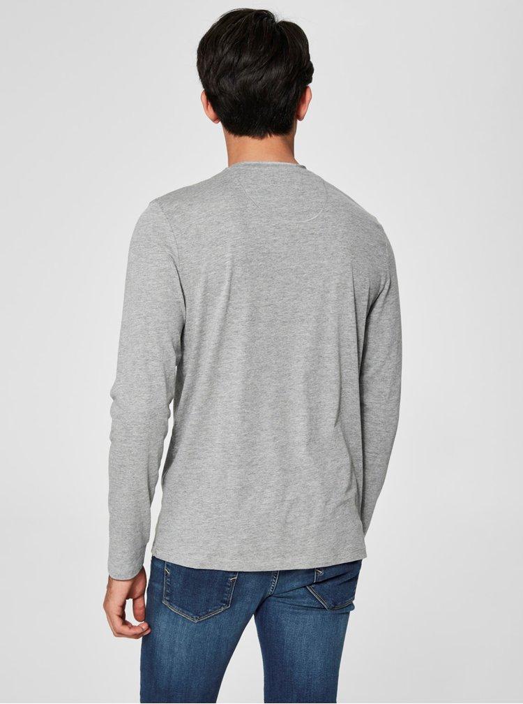Světle šedé tričko s dlouhým rukávem Selected Homme Niklas