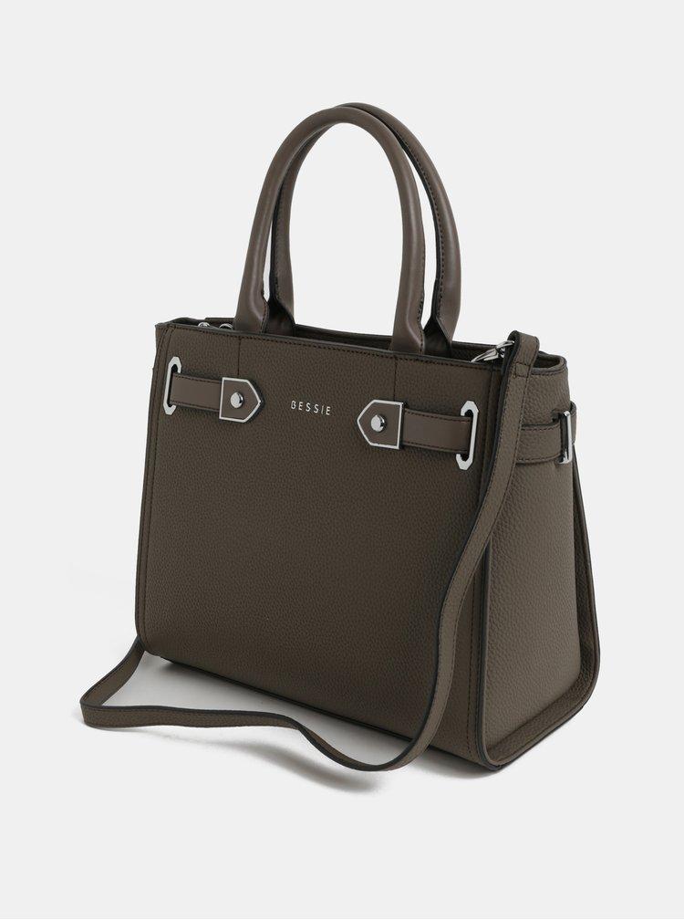 Tmavě hnědá kabelka s detaily ve stříbrné barvě Bessie London